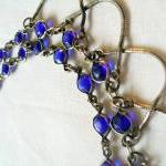 blue glass and chain, vintage neckl..