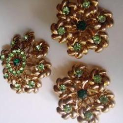 green rhinestone earrings and brooch set, vintage new old stock