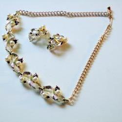 silver and purple rhinestone necklace and earrings vintage set
