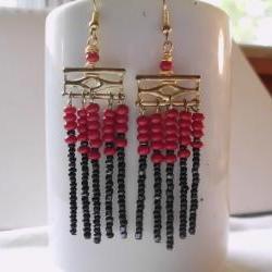 red and black tribal earrings