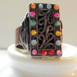 maracasite and rhinestone ring on adjustable band